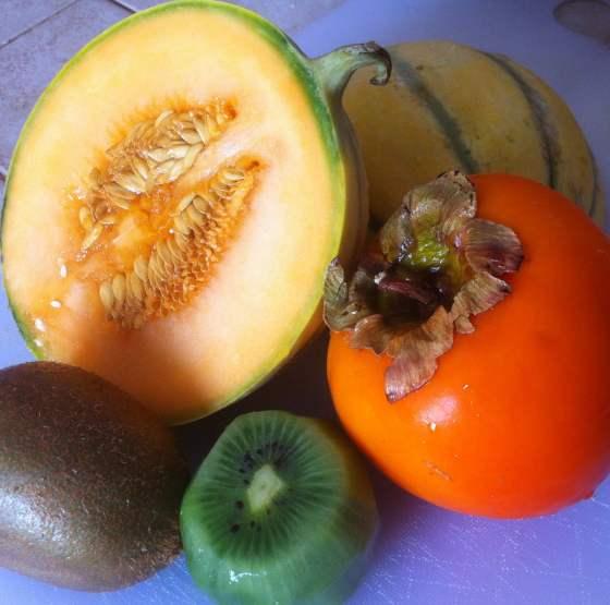 La tarte kaki, kiwi et melon
