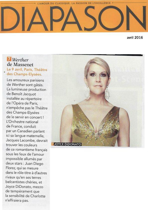 Annonce de la version de concert de Werther, le 9 avril 2016 au Théâtre des Champs-Elysées, dans le numéro de Diapason d'avril 2016.