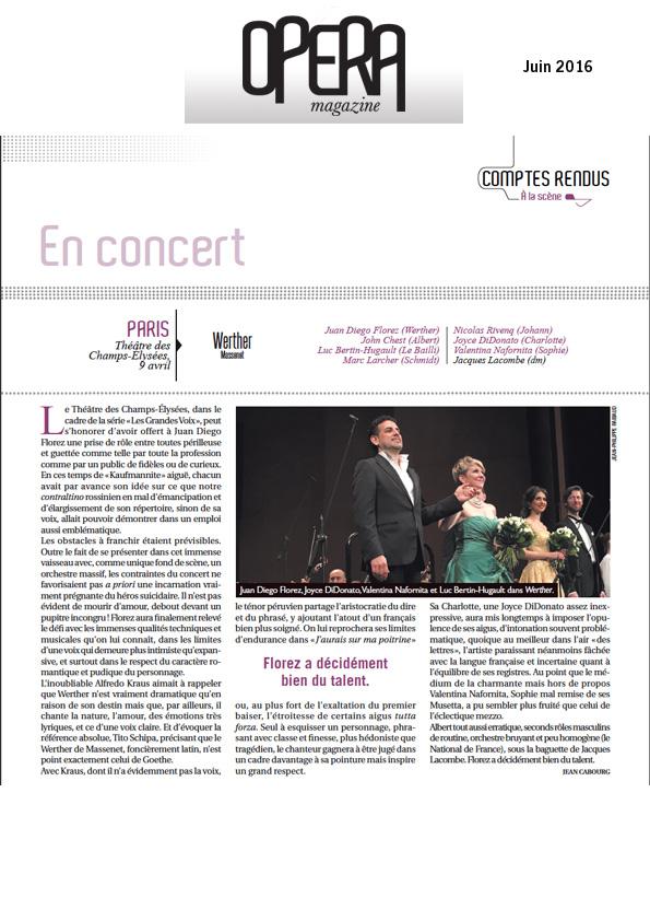 Compte-rendu de Werther dans le numéro de juin 2016 d'Opéra Magazine