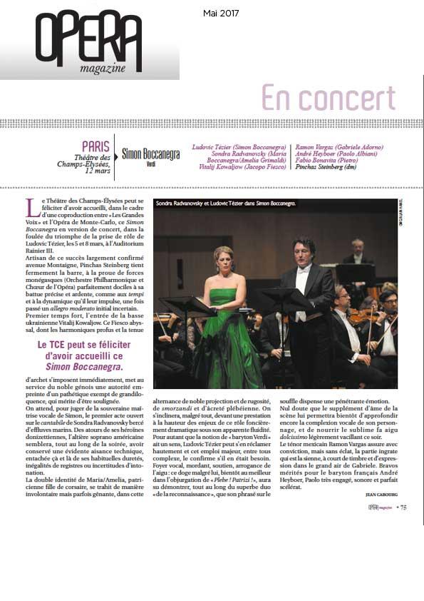 Compte-rendu de Simon Boccanegra dans le numéro de mai d'Opéra Magazine