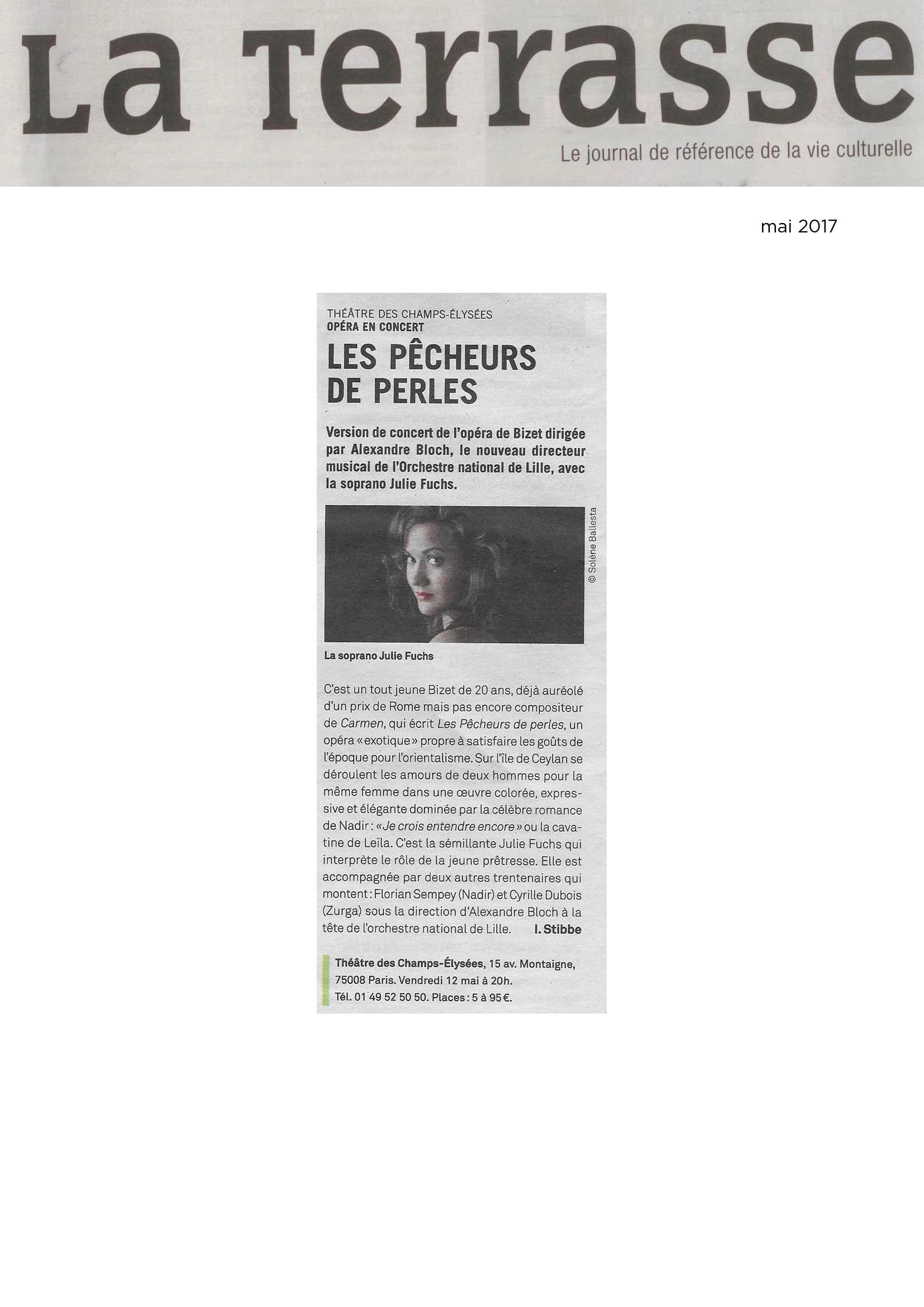 Annonce de la version de concert des Pêcheurs de perles dans le numéro de mai 2017 de La Terrasse