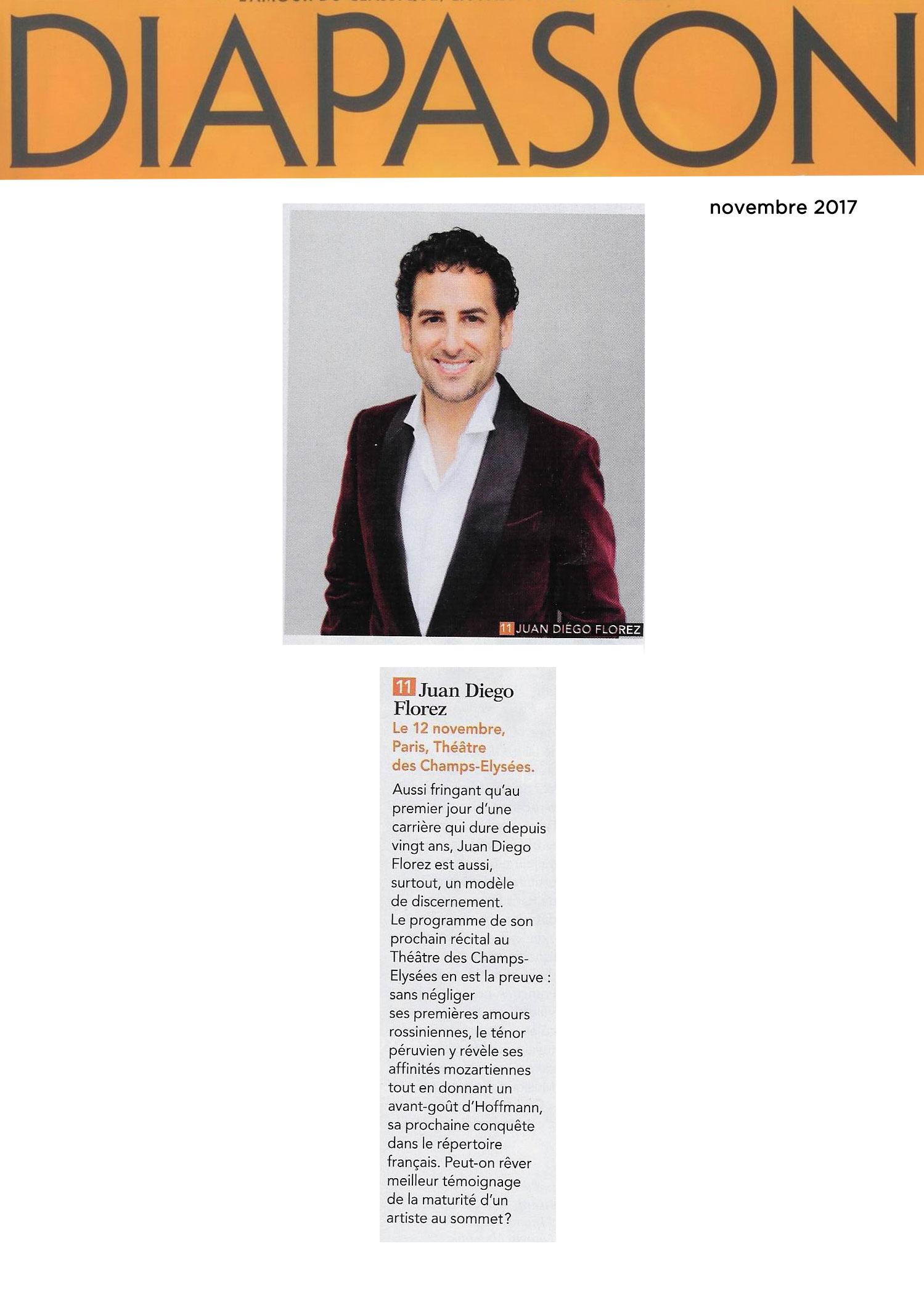 Annonce du récital de Juan Diego Flórez au Théâtre des Champs-Elysées le 12 novembre 2017 dans le numéro de Diapason de novembre 2017.