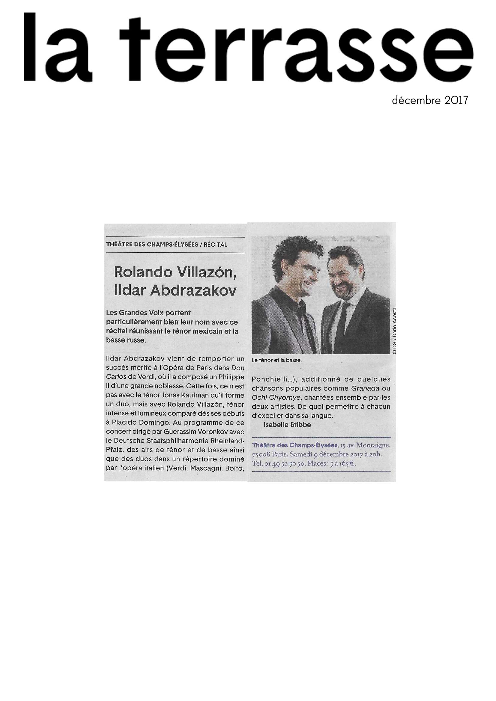 Annonce du récital de Rolando Villazón et Ildar Abdrazakov au Théâtre des Champs-Elysées le 9 décembre 2017 dans le numéro de La Terrasse de décembre 2017.