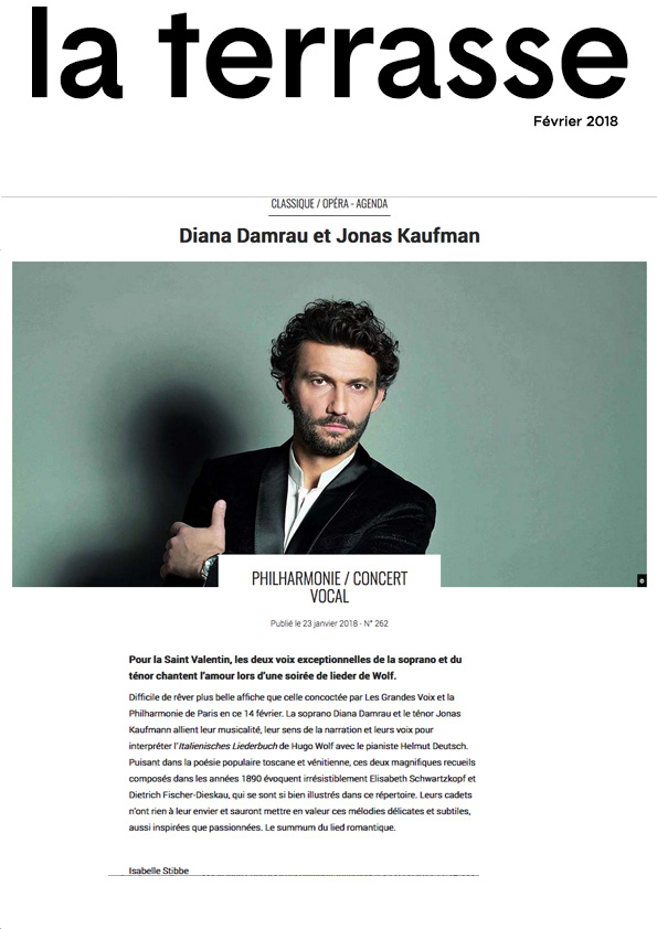 Annonce du récital de Diana Damrau et Jonas Kaufmann à la Philharmonie de Paris le 14 février 2018 dans le numéro de La Terrasse de février 2018.