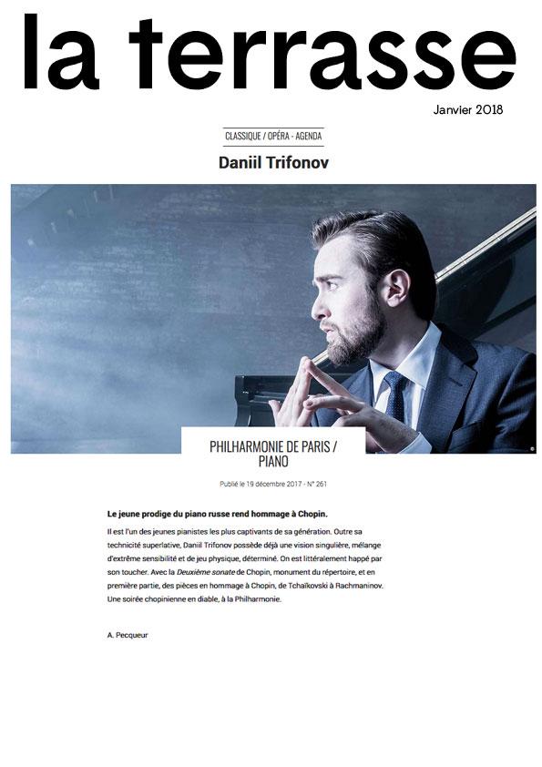 Annonce du récital de Daniil Trifonov à la Philharmonie de Paris le 15 janvier 2018 dans le numéro de La Terrasse de janvier 2018.