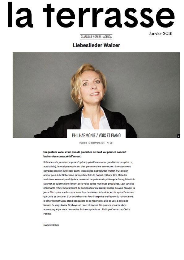 Annonce des Liebeslieder Walzer à la Philharmonie de Paris le 23 janvier 2018 dans le numéro de La Terrasse de janvier 2018.