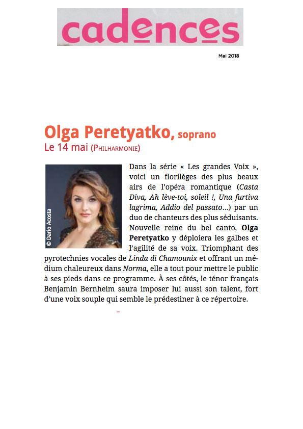 Annonce du concert d'Olga Peretyatko et Benjamin Bernheim dans le numéro de mai 2018 de Cadences