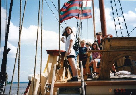 Kids take over the ship at Jamestown, VA - August 1995