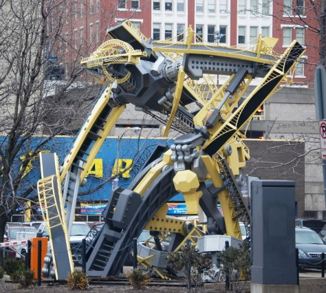 Arch - Transformer like robot made of bridges in downtown Pittsburgh, created by Glenn Kaino in 2008