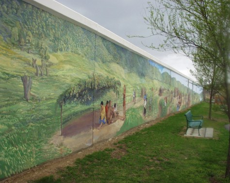 Part of the Dafford floodwall mural in Point Pleasant, WV