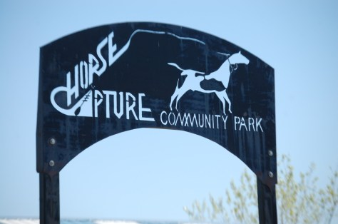Horse Capture Community Park sign, another metal sign located along the Hi-Line in Montana.  This is in Fort Belknap.