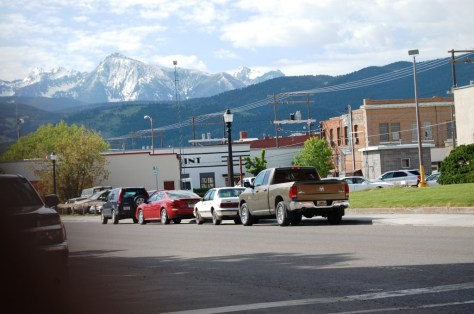 Mountains surround the city of Livingston, Montana