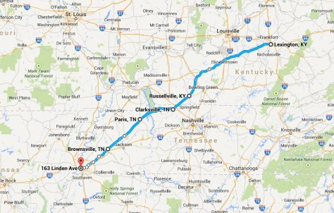 Route to Memphis from Lexington via Russellville, KY and US Route 79