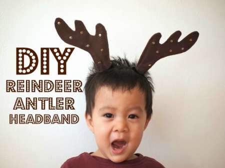 DIY Reindeer Antler Horns Headband Christmas craft
