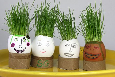 Egg Heads with Grass Hair