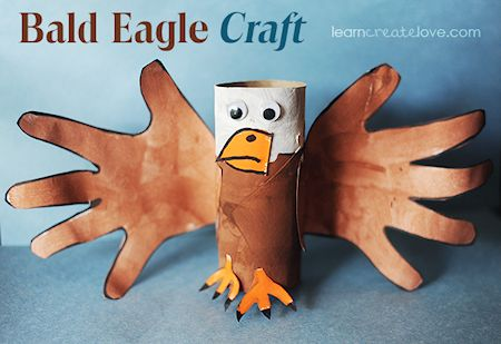 Paper Roll and Handprint Bald Eagle Craft