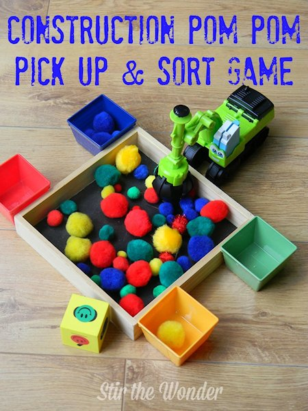 Construction Pom Pom Pick Up and Sort Game