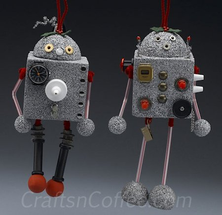 Recycled Robot Christmas Ornaments