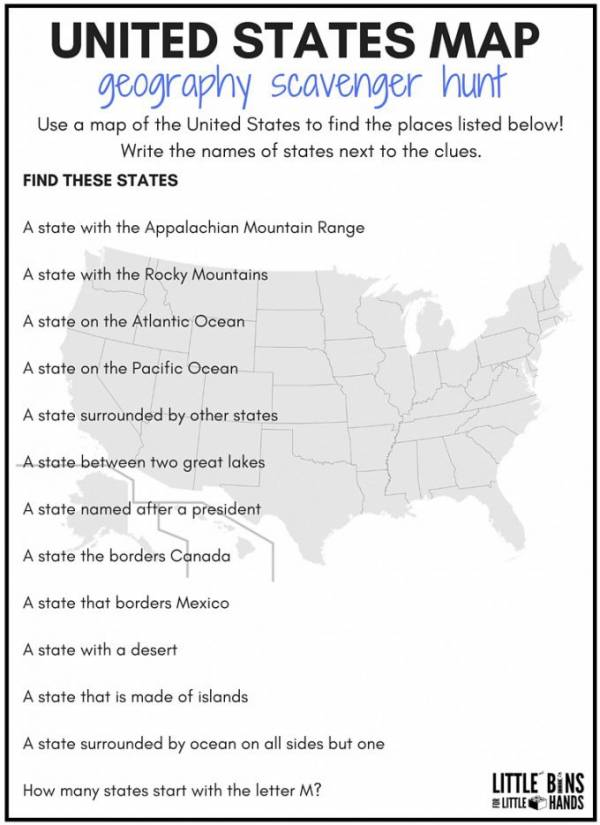 United States Geography Scavenger Hunt