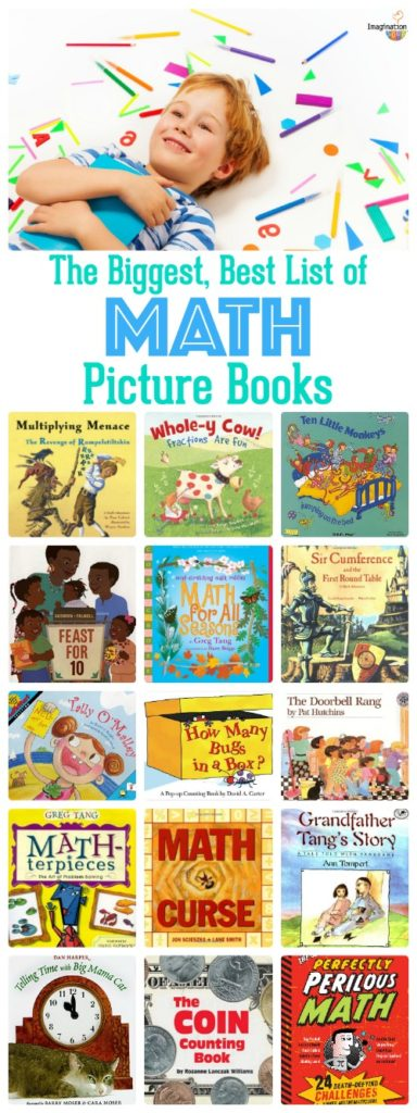 Great collection of math picture books for leaning counting, math concepts and more.