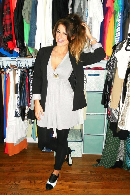 gracie b gray wrap day dress, black blazer, black and white ASOS brogue