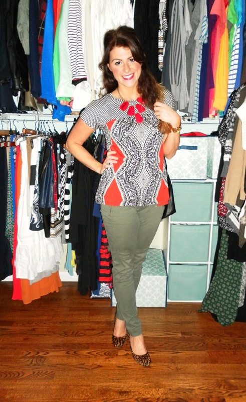 anthropologie t-shirt, red stone statement necklace, gap olive green skinnies, leopard pumps