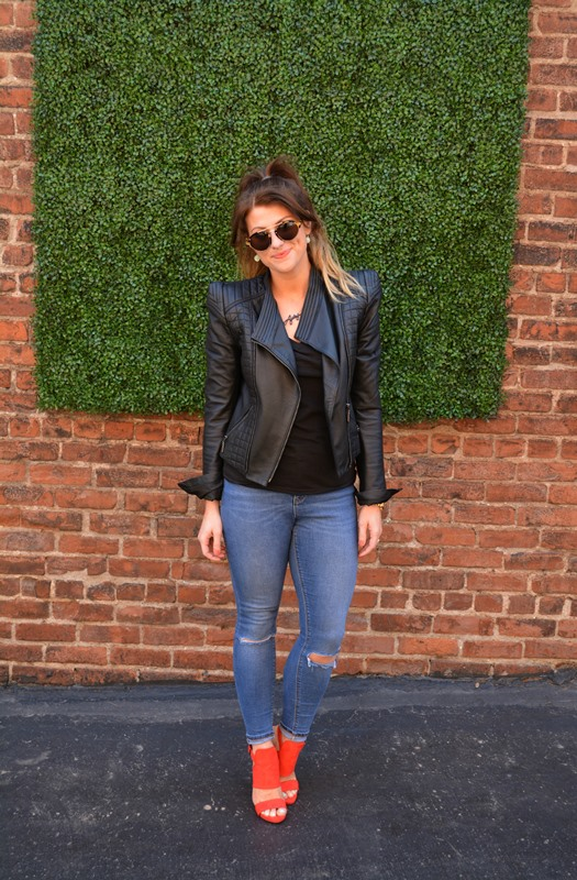 asos sharp shoulder leather jacket, asos ridley denim, red zara sandals, illesteva sunglasses