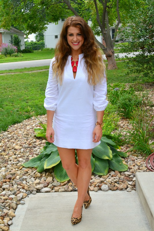american prep avery dress, ashley from lsr, red stone necklace, leopard pumps