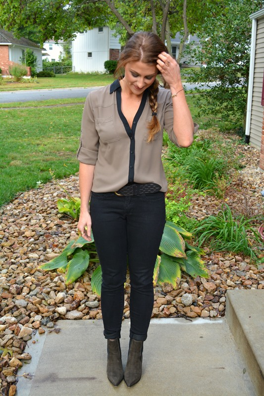 asos epidemic ankle boots, lee jeans, express portofino shirt, maya brenner initial necklace, ashley from lsr