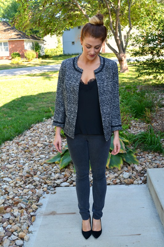 tweed jacket, black caminyc tank, madewell denim, black topshop pumps, ashley from lsr
