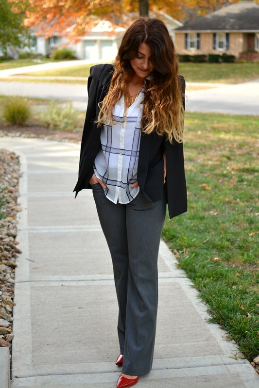 blazer cape, ashley from lsr, express plaid portofino shirt, express editor pants, red pumps, bauble bar tassel necklace