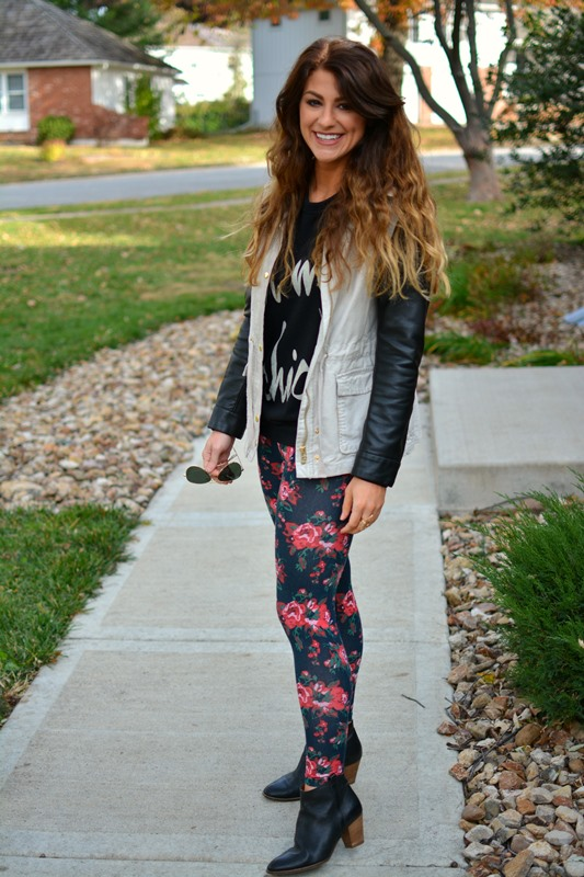 floral leggings, oh my chic sweatshirt, leather sleeved utility jacket, ashley from lsr, madewell billie booties