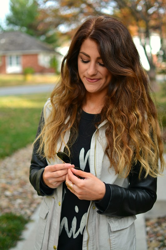oh my chic sweatshirt, leather sleeved utility jacket, ashley from lsr