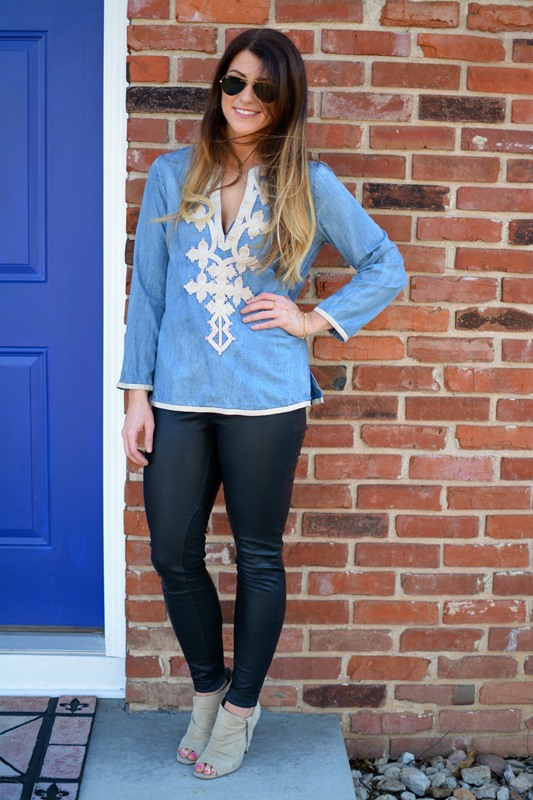 ashley from lsr, jcrew denim tunic, blank nyc vegan leather leggings, steve madden suede booties, gorjana wrist to hand cuff