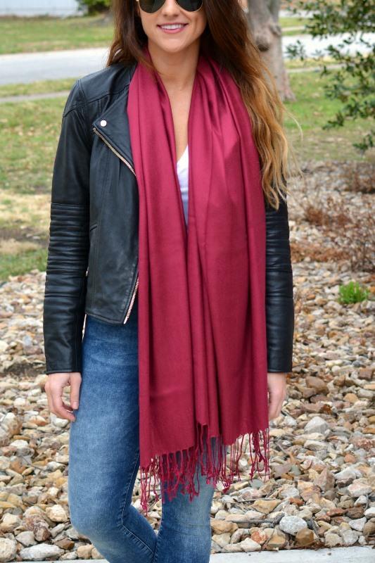 ashley from lsr, biker jacket, marsala scarf, acid wash jeans