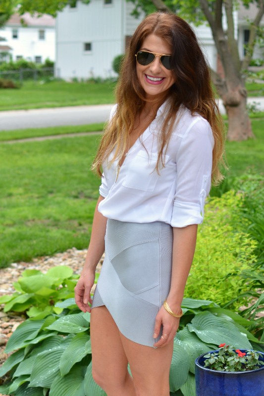 ashley from lsr, silver bandage skirt, white blouse