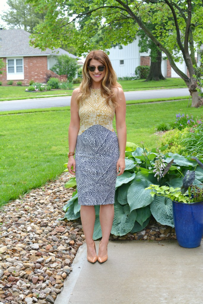 Ashley from LSR in a printed H&M sheath dress and Nine West pumps