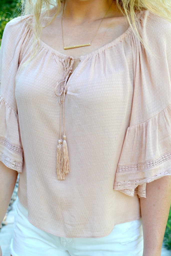 Ashley from LSR in a blush top from Zara