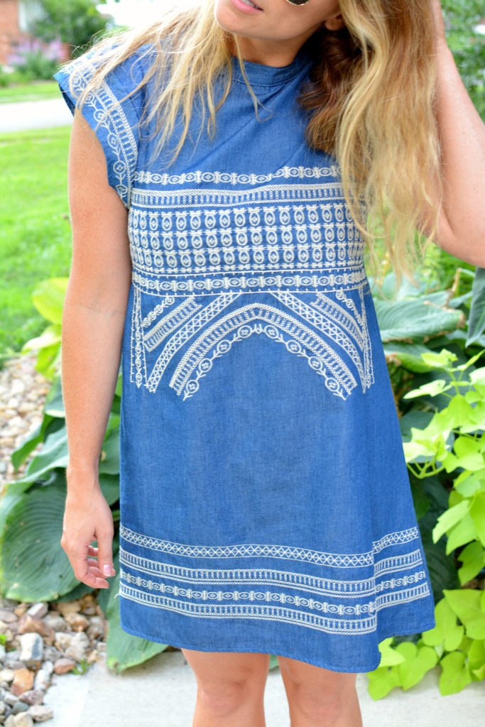 Ashley from LSR in an embroidered chambray dress from Chicwish
