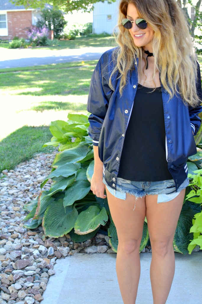 Ashley from LSR in a Nasty Gal bomber jacket and One Teaspoon Bandit shorts