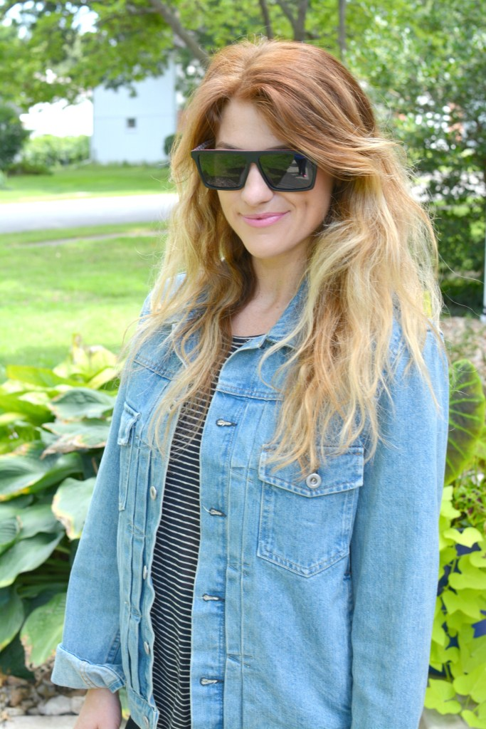 Ashley from LSR in a men's boxy denim jean jacket with a striped tee