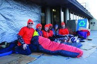 Volunteers Bob Bordreau, Ameet Kumar, Stephanie Wickham, Izzie Brock, Andrea Kobbert and Jeff Oudman outside of the University of Lethbridge for the 5 Days for the Homeless charity event.