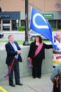 Mayor Chris Spearman, Metis Local 2003 Vice President Louise Saloff and Metis Elder Rod McLeod at the Metis Flag raising ceremony to kick off Metis week at City Hall on Nov. 14.