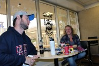 Chris Eldridge and Amanda Shaw enjoy a quick morning breakfast between classes.