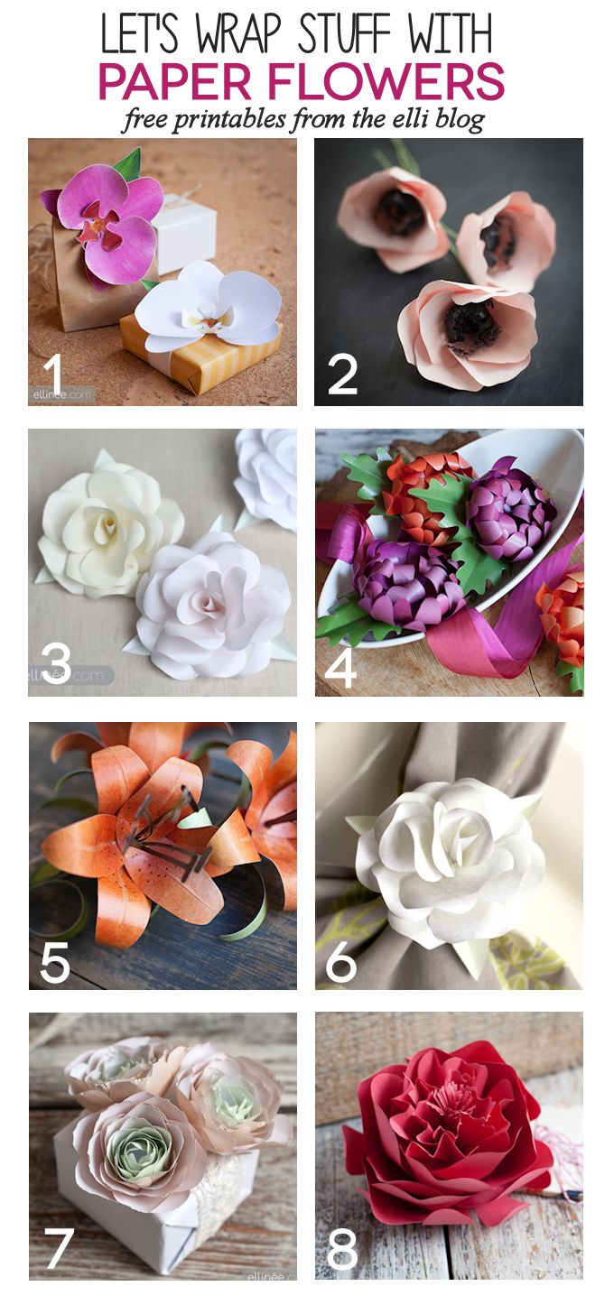 Use Printable DIY Paper flowers as gorgeous DIY bows.