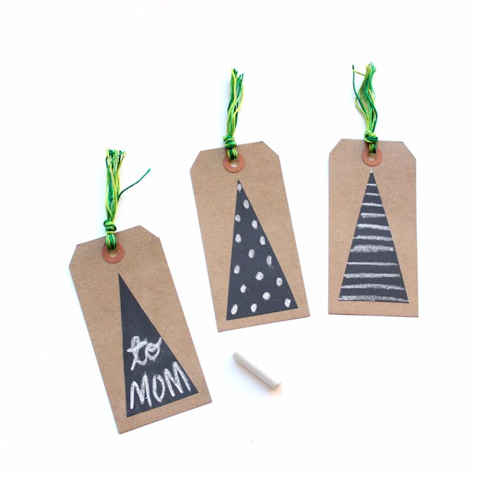 chalkboard tape gift tags trees