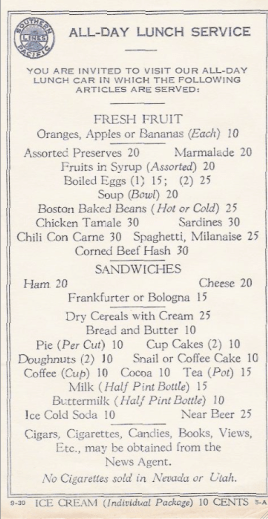 Southern Pacific Lines Train Menu