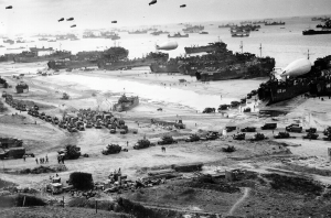 Allied Troops Unload Equipment And Supplies On Omaha Beach