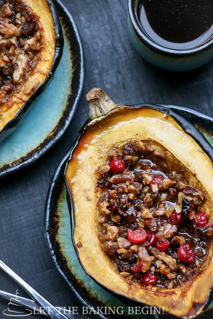 Acorn Squash with Brown Sugar, Walnuts & Cranberries