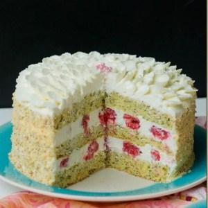 Poppy Seed Lemon Cake w/ Raspberries